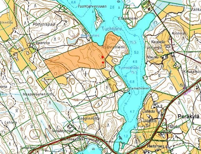 Tuohtjärven takana olevat isot metsälehmukset – kartta